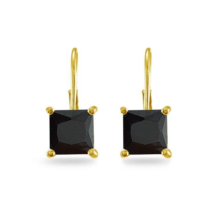 Yellow Gold Flashed Sterling Silver Black Cubic Zirconia Princess-cut 7x7mm Leverback Earrings