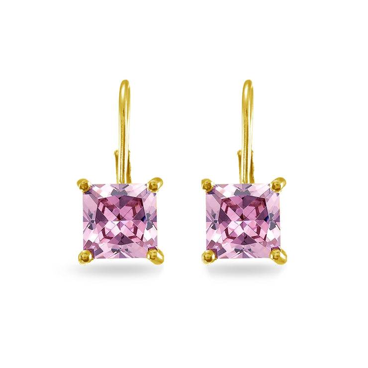 Yellow Gold Flashed Sterling Silver Pink Cubic Zirconia Princess-cut 7x7mm Leverback Earrings