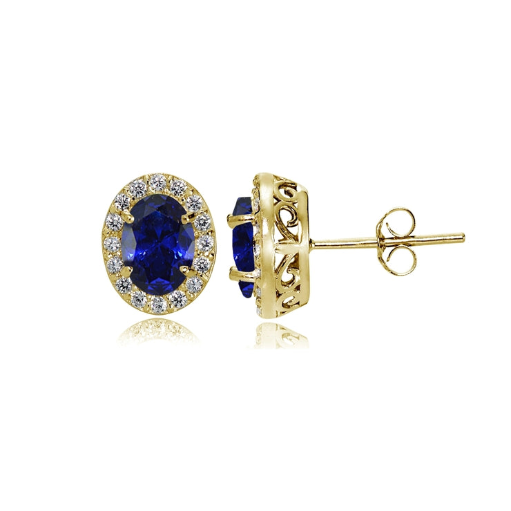 Yellow Gold Flashed Sterling Silver Created Blue Sapphire and Cubic Zirconia Accents Oval Halo Stud Earrings