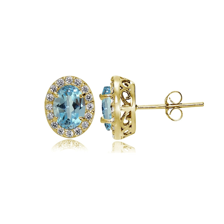 Yellow Gold Flashed Sterling Silver Blue Topaz and Cubic Zirconia Accents Oval Halo Stud Earrings