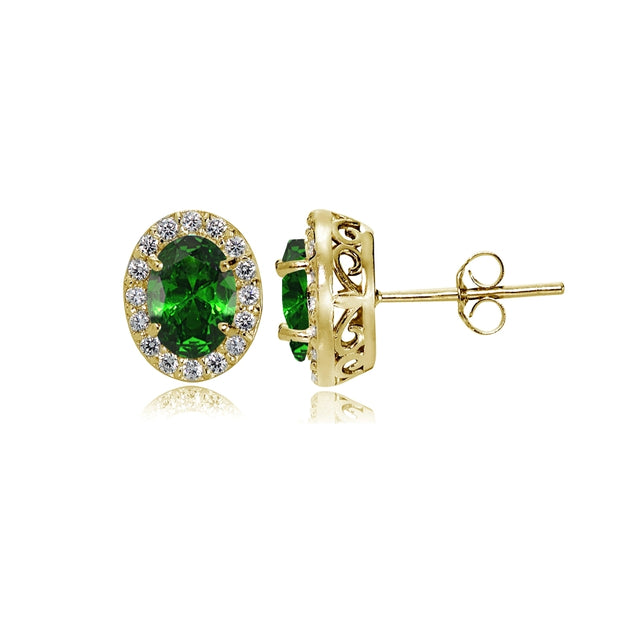 Yellow Gold Flashed Sterling Silver Created Emerald and Cubic Zirconia Accents Oval Halo Stud Earrings