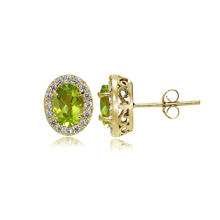Yellow Gold Flashed Sterling Silver Peridot and Cubic Zirconia Accents Oval Halo Stud Earrings
