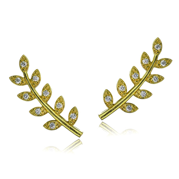 Gold Tone over Sterling Silver Cubic Zirconia Leaf Crawler Climber Hook Earrings