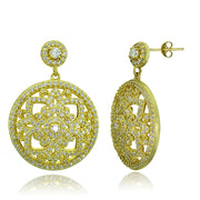 Gold Tone over Sterling Silver Cubic Zirconia Filigree Medallion Dangle Earrings