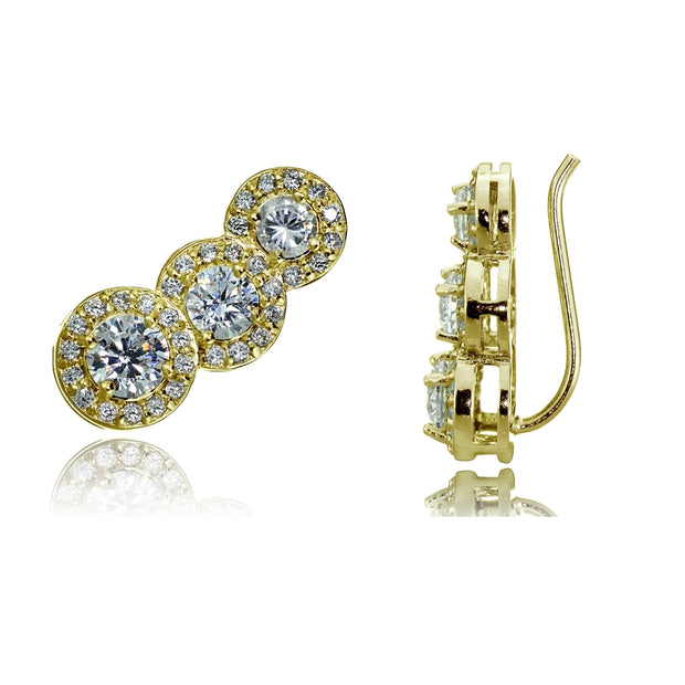 Gold Tone over Sterling Silver Cubic Zirconia Three Stone Halo Crawler Climber Hook Earrings