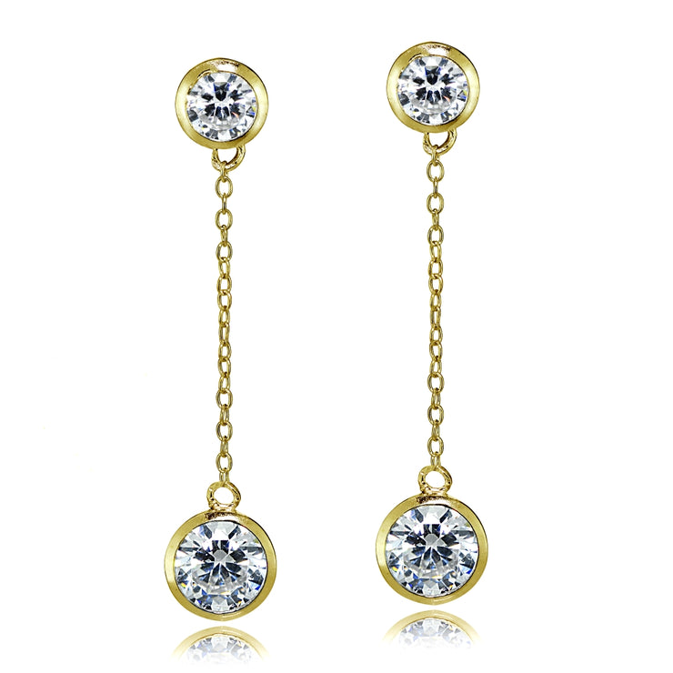 Gold Tone over Sterling Silver Cubic Zirconia Bezel-Set Dangling Earrings