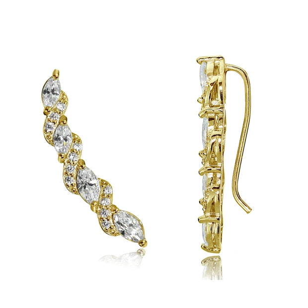 Gold Tone over Sterling Silver Cubic Zirconia Twist Crawler Climber Hook Earrings