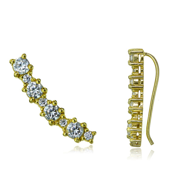 Gold Tone over Sterling Silver Round Cubic Zirconia Curved Crawler Climber Hook Earrings