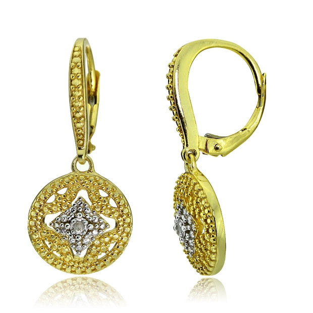 Gold Tone over Sterling Silver Diamond Accent Filigree Medallion Dangle Leverback Earrings