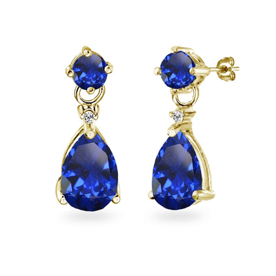 Yellow Gold Flashed Sterling Silver Created Blue Sapphire Teardrop Dangle Earrings