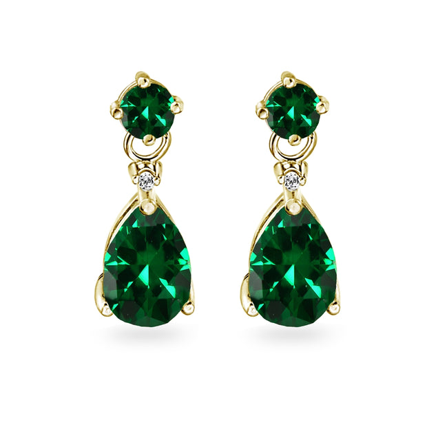 Yellow Gold Flashed Sterling Silver Simulated Emerald Teardrop Dangle Earrings