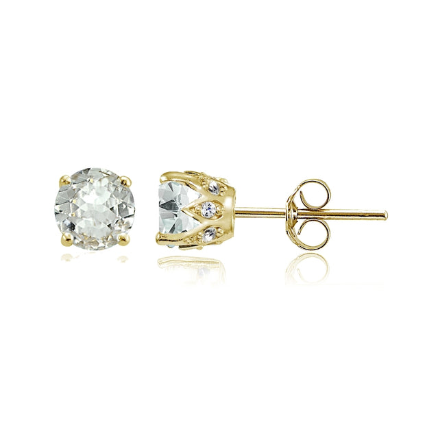 Yellow Gold Flashed Sterling Silver Aquamarine and Cubic Zirconia Accents Crown Stud Earrings