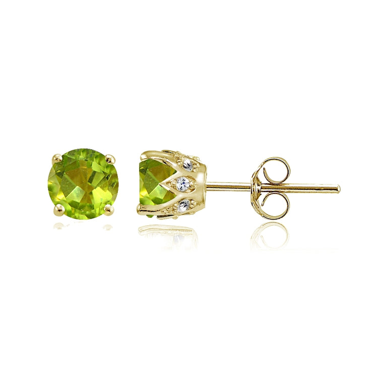 Yellow Gold Flashed Sterling Silver Peridot and Cubic Zirconia Accents Crown Stud Earrings
