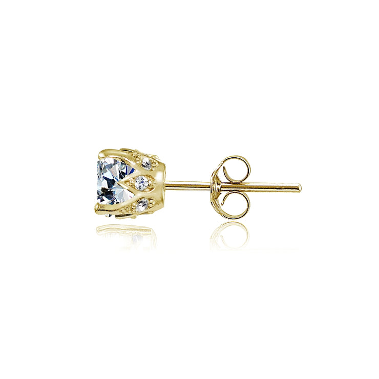 Yellow Gold Flashed Sterling Silver Cubic Zirconia Crown Stud Earrings