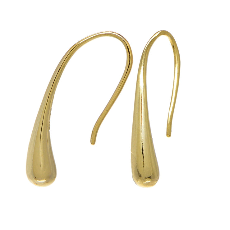 Yellow Gold Flashed Sterling Silver Elongated Puffed Teardrop Hook Earrings