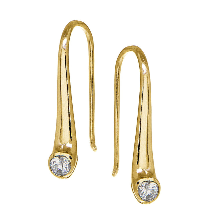Yellow Gold Flashed Sterling Silver Cubic Zirconia Elongated Puffed Teardrop Hook Earrings