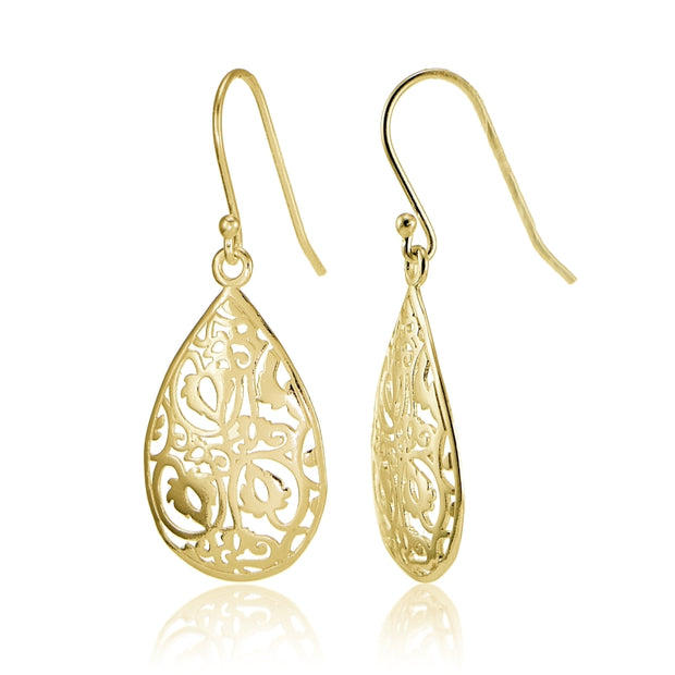 Yellow Gold Flashed Sterling Silver Filigree Teardrop Earrings