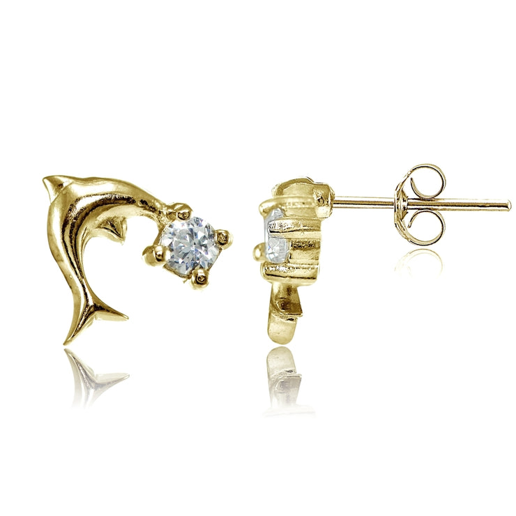Yellow Gold Flashed Sterling Silver Cubic Zirconia Dolphin Stud Earrings