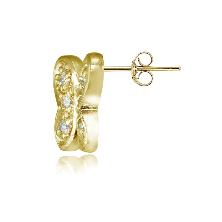 Yellow Gold Flashed Sterling Silver Cubic Zirconia Butterfly Stud Earrings