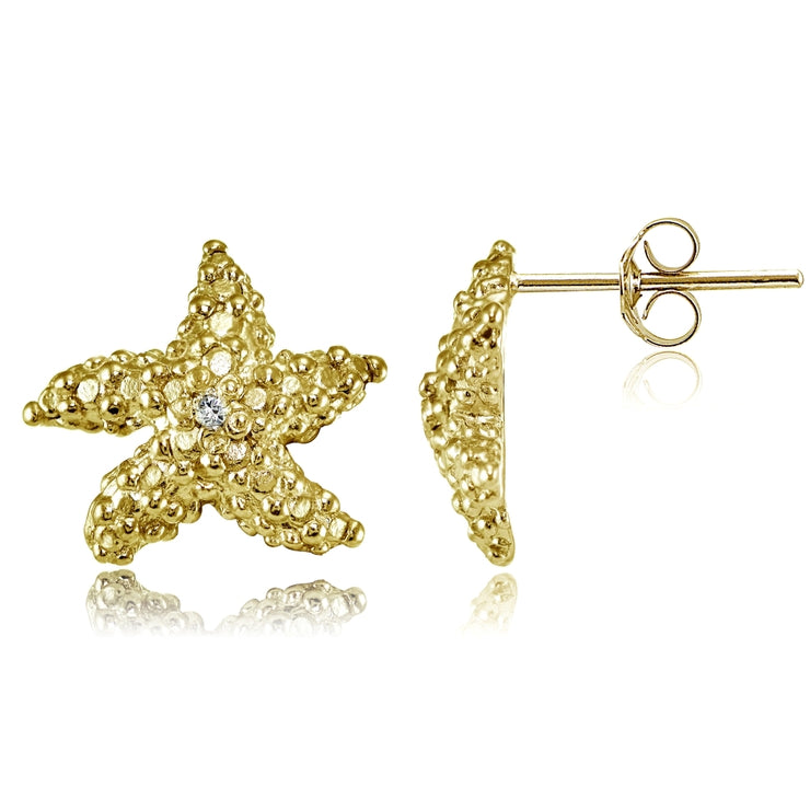 Yellow Gold Flashed Sterling Silver Cubic Zirconia Starfish Stud Earrings