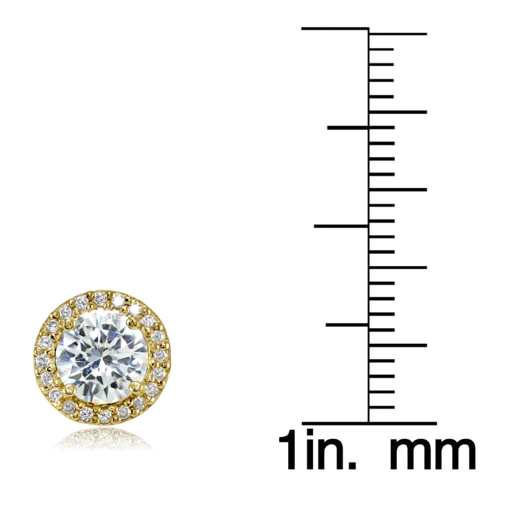 Yellow Gold Flashed Sterling Silver Round Cubic Zirconia Halo Stud Earrings