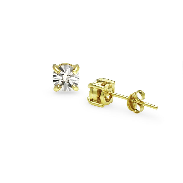 Yellow Gold Flashed Sterling Silver Illusion-Set Diamond Accent Round Stud Earrings, JK-I3