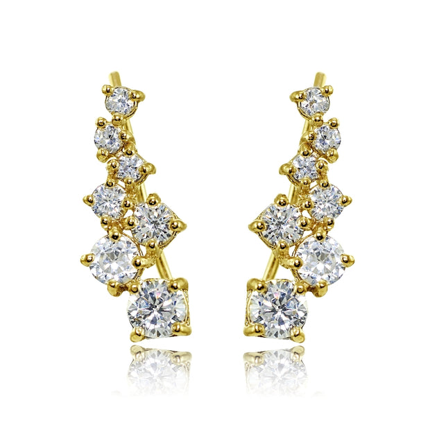 Yellow Gold Flashed Sterling Silver Cubic Zirconia Graduating Climber Crawler Earrings