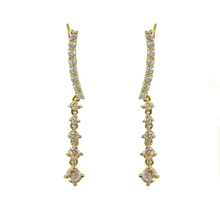 Yellow Gold Flashed Sterling Silver Round Champagne Cubic Zirconia Climber Crawler Dangle Earrings