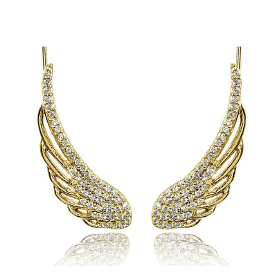 Yellow Gold Flashed Sterling Silver Cubic Zirconia Angel Wings Climber Crawler Earrings