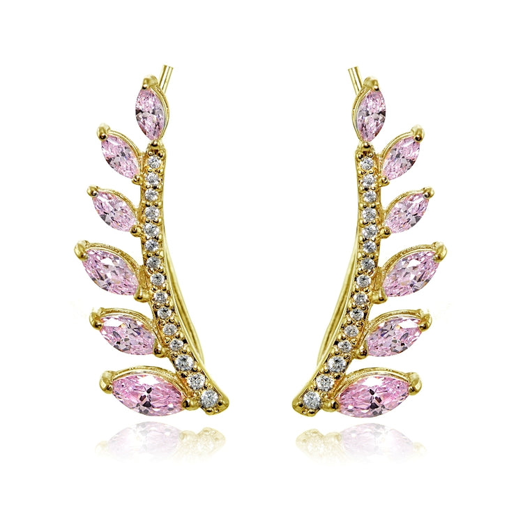 Yellow Gold Flashed Sterling Silver Light Pink and Clear Cubic Zirconia Leaf Climber Crawler Earrings