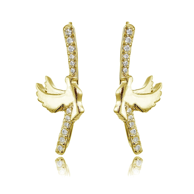 Yellow Gold Flashed Sterling Silver Cubic Zirconia Dov Climber Crawler Earrings