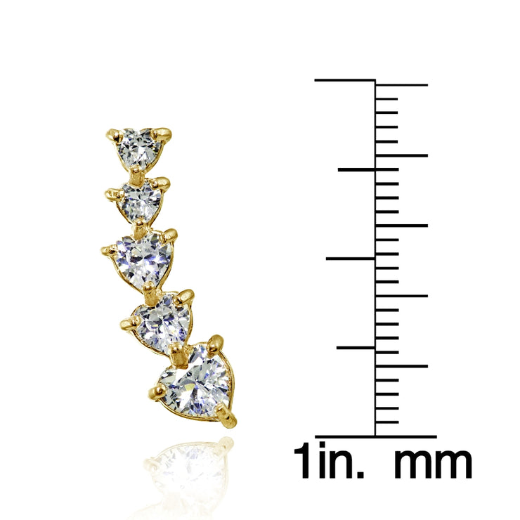 Yellow Gold Flashed Sterling Silver Heart Cubic Zirconia Curved Climber Crawler Earrings