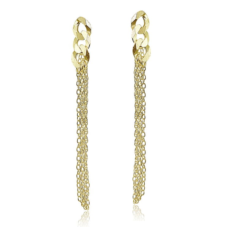 Yellow Gold Flashed Sterling Silver Flat Link and Multi-Strand Chain Drop Dangle Earrings