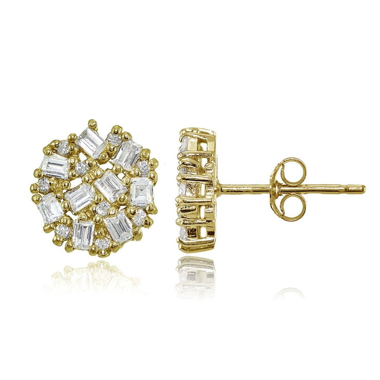 Yellow Gold Flashed Sterling Silver Baguette and Round-Cut Cubic Zirconia Cluster Round Stud Earrings