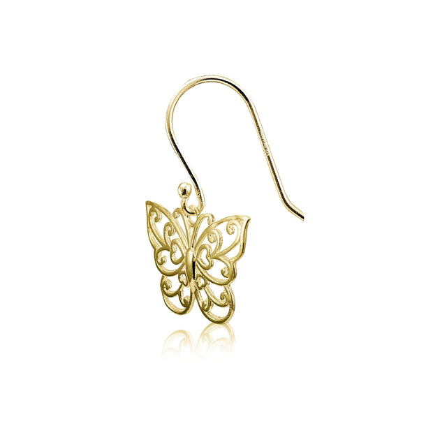 Yellow Gold Flashed Sterling Silver High Polished Filigree Butterfly Dangle Earrings