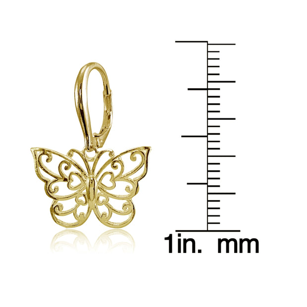 Yellow Gold Flashed Sterling Silver High Polished Filigree Butterfly Leverback Earrings