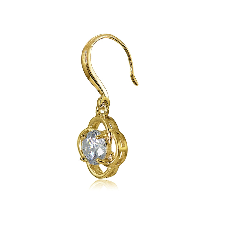 Yellow Gold Flashed Sterling Silver Cubic Zirconia Flower Knot Dangle Earrings