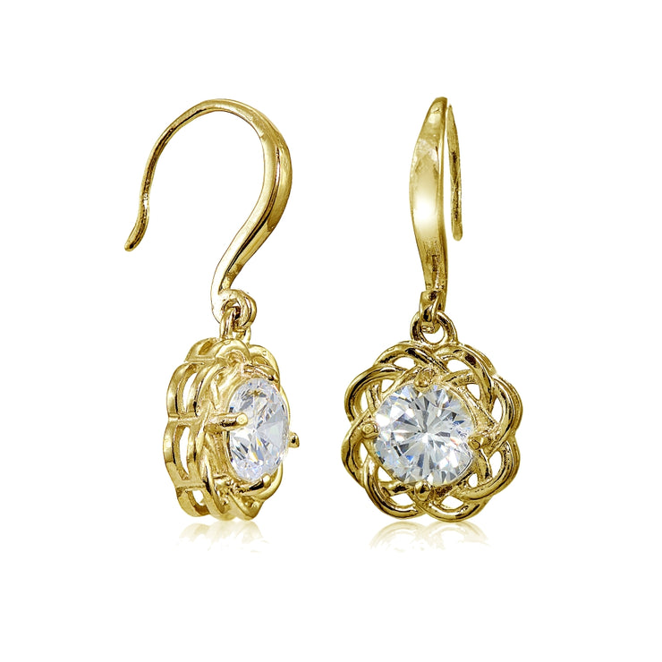 Yellow Gold Flashed Sterling Silver High Polished Cubic Zirconia Celtic Love Knot Dangle Earrings
