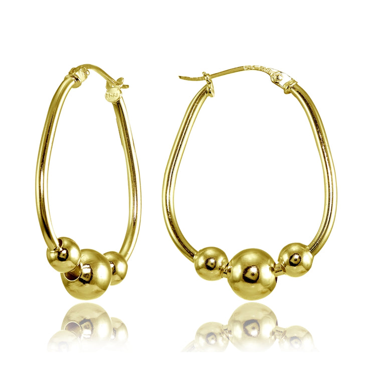 Yellow Gold Flashed Sterling Silver Polished Beaded 18mm Hoop Earrings