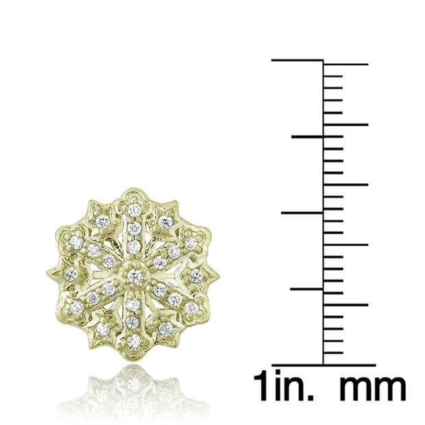 Yellow Gold Flashed Sterling Silver Cubic Zirconia Snowflake Stud Earrings