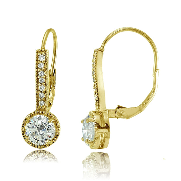 Yellow Gold Flashed Sterling Silver Round Cubic Zirconia Leverback Earrings