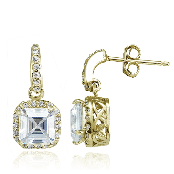 Yellow Gold Flashed Sterling Silver Cubic Zirconia Square Dangle Earrings
