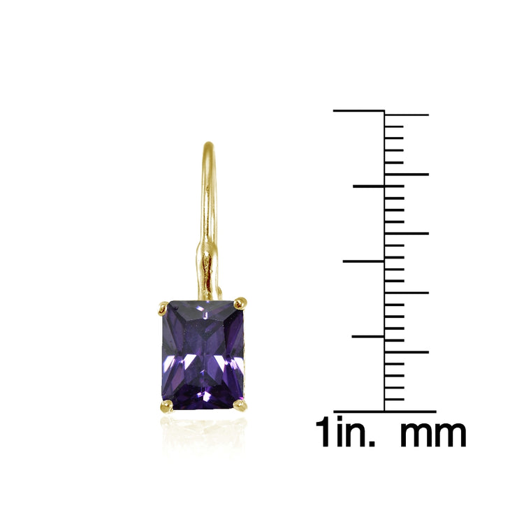 Yellow Gold Flashed Sterling Silver Cubic Zirconia Amethyst Emerald-Cut Leverback Earrings