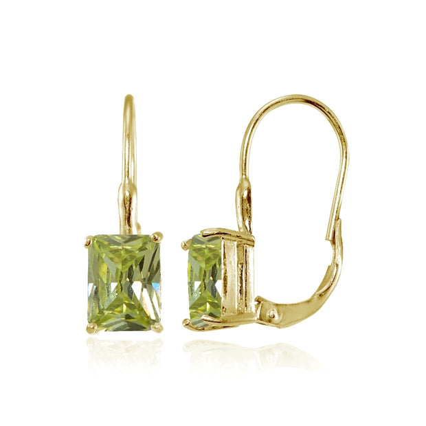 Yellow Gold Flashed Sterling Silver Emerald-Cut Light Green Cubic Zirconia Leverback Earrings
