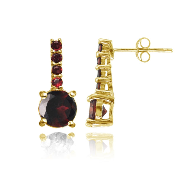Yellow Gold Flashed Sterling Silver Garnet 5-Stone Round Drop Earrings