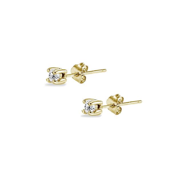Yellow Gold Flashed Sterling Silver Cubic Zirconia 2mm Round Stud Earrings