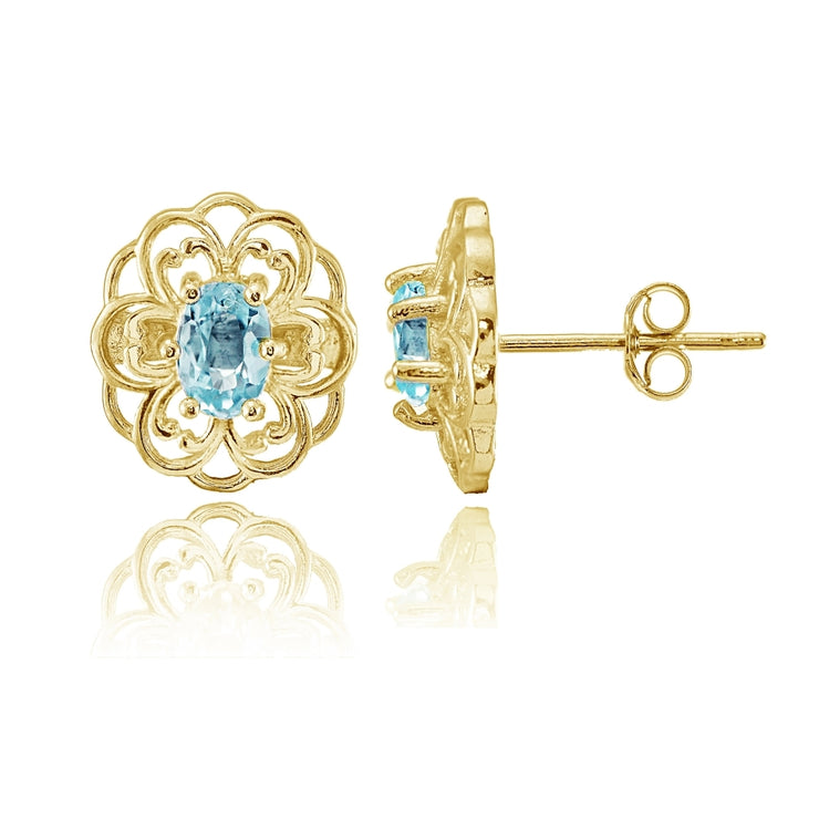 Yellow Gold over Sterling Silver Blue Topaz Filigree Flower Stud Earrings