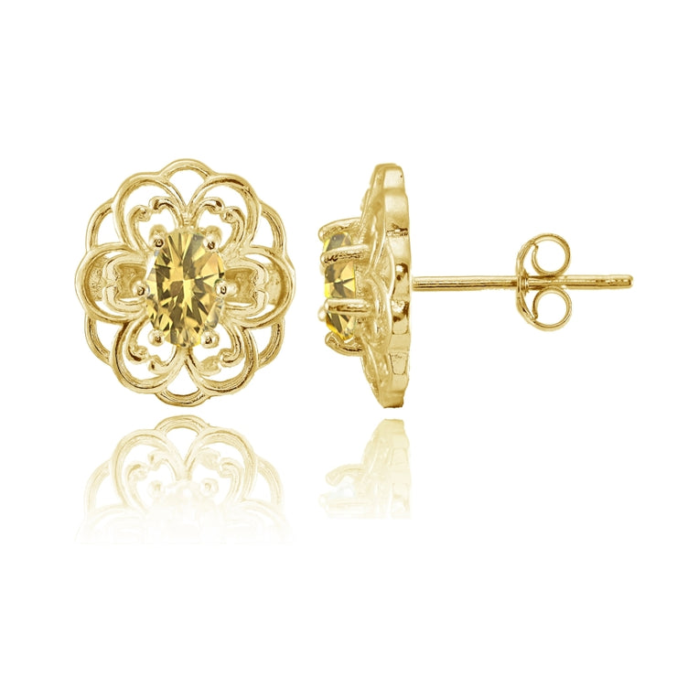 Yellow Gold over Sterling Silver Citrine Filigree Flower Stud Earrings