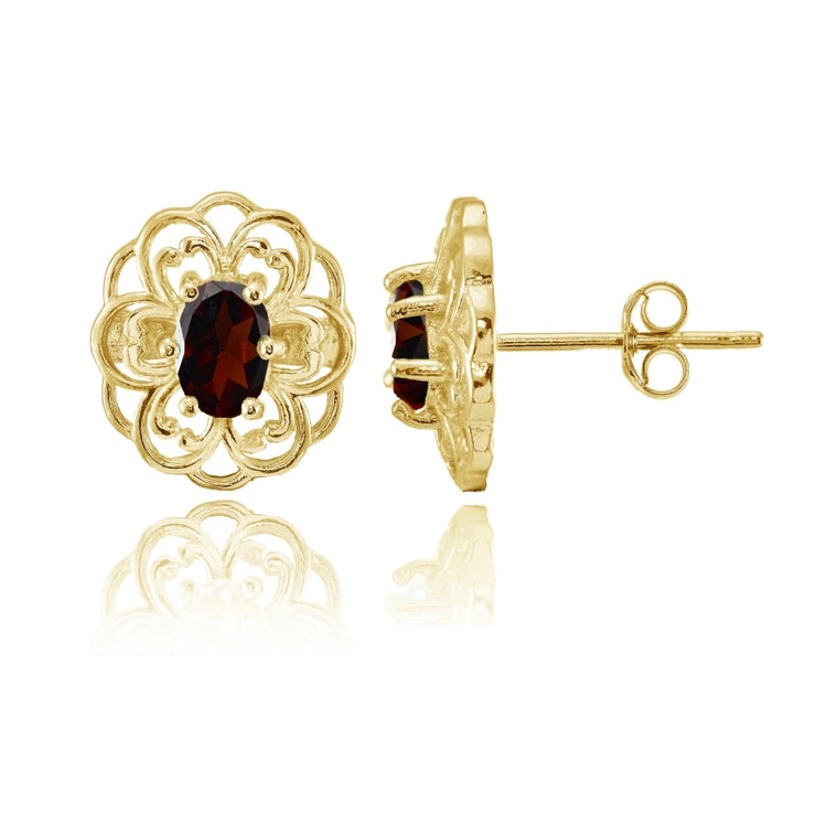 Yellow Gold over Sterling Silver Garnet Filigree Flower Stud Earrings