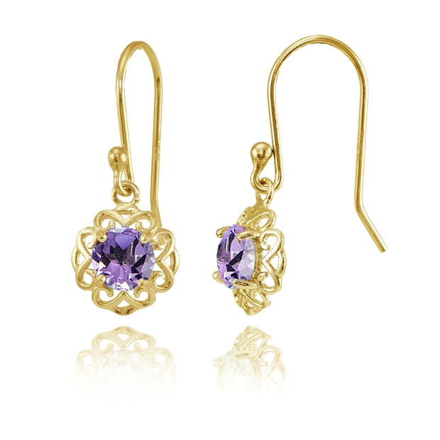 Yellow Gold over Sterling Silver Amethyst Round Filigree Dangle Earrings
